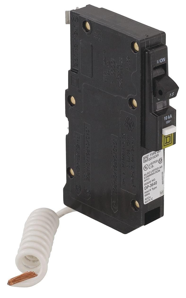 Square D - QOB115VHCAFI - Bolt On Circuit Breaker, 15A, 1P, 22kA, 120V