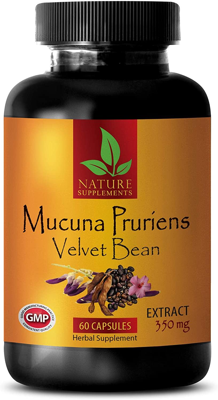 Stress Relief Supplement Natural - MUCUNA PRURIENS Extract 350 MG - Velvet Beans - Velvet Bean Extract Pills - 1 Bottle 60 Capsules