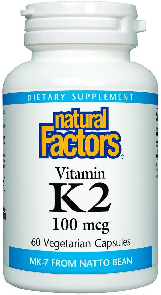 Natural Factors, Vitamin K2 100 mcg, Supports Bone and Vascular Health, 60 capsules (60 servings)
