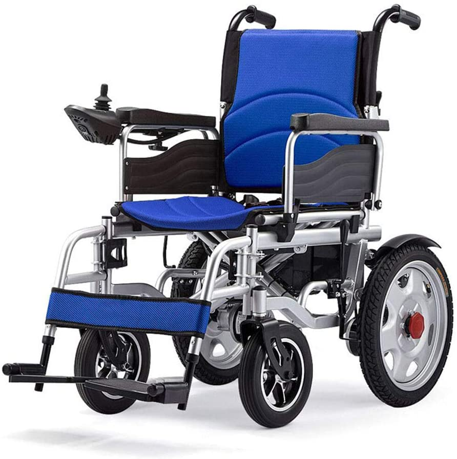 Lightweight Folding Electric Wheelchair for Adults Compact Transit Travel Chair 250w dual Motor 24v 20ah Lithium Battery 15-Mile Range 18inch Seat Support 240 Lbs Heavy duty,Blue,20Ahlithium battery