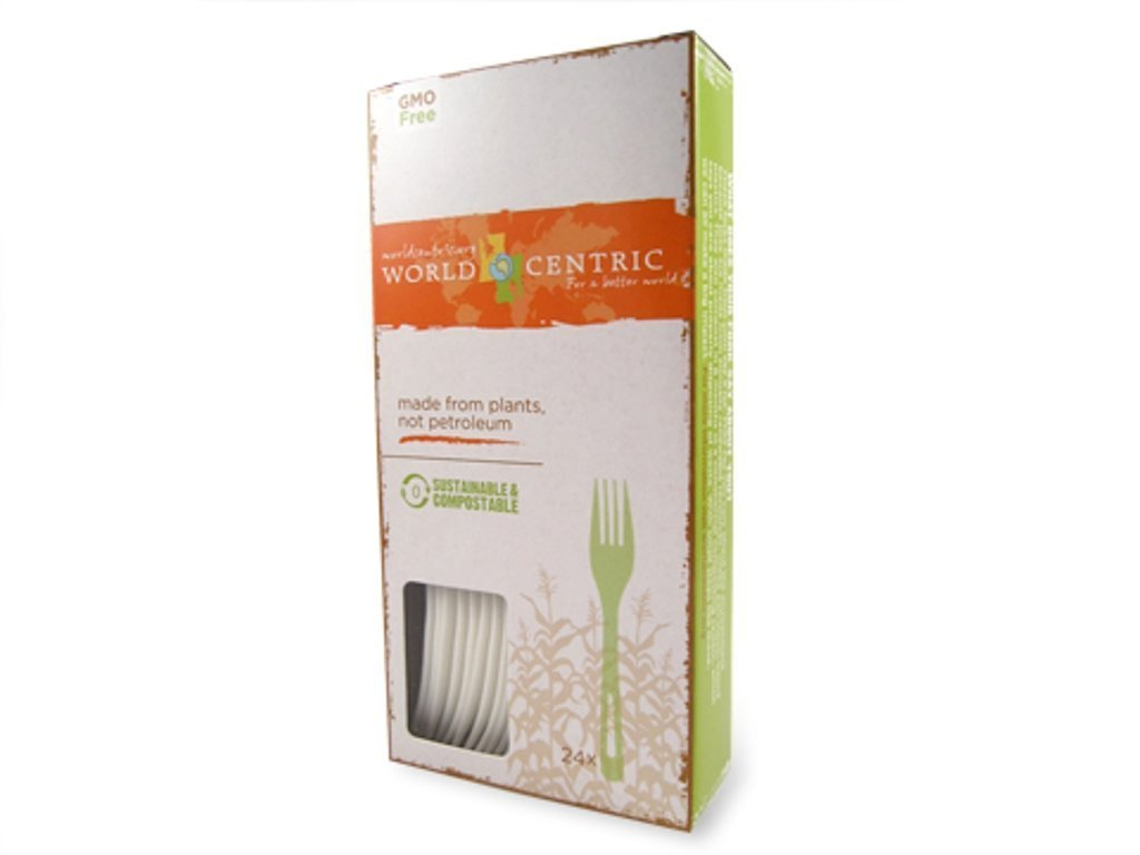 World Centric Corn Starch Fork - 24 per pack -- 12 packs per case.