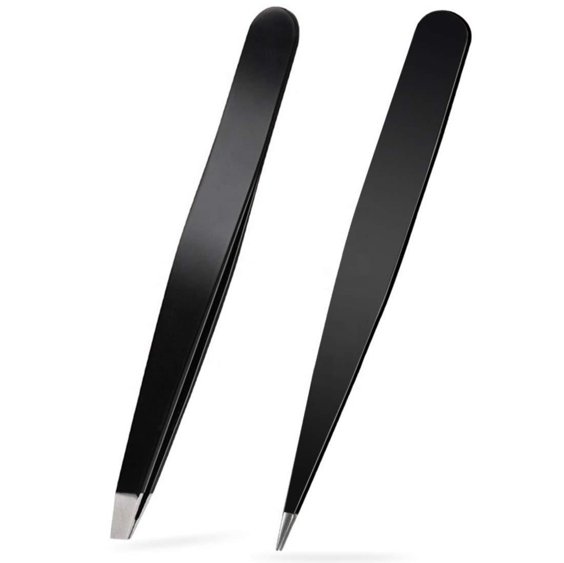 Tweezers Set - Stainless Steel Slant Tip and Pointed Tweezers for Eyebrow, Facial Hair, Ingrown Hair, Splinter, Blackhead and Tick Remover