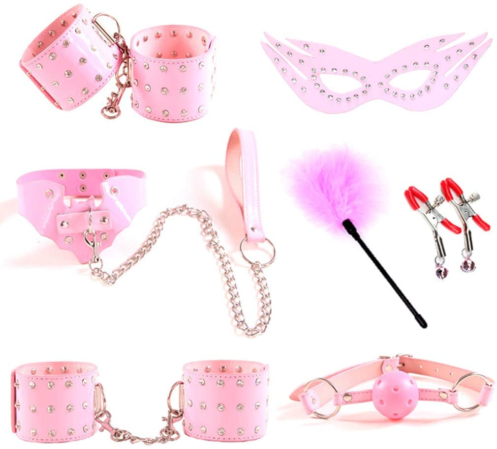 eyessssty Alternative Rivets Bondage Restraint Sets SM Handcuffs Collar Mask Gag Whip Rope Feather Nipple Clips Couples Flirting Adult Bed Exercise Toy