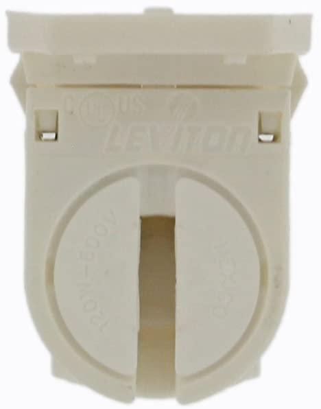 Leviton 23654-SNP Miniature Base, T5 Bi-Pin, Fluorescent Lampholder, White with Panel