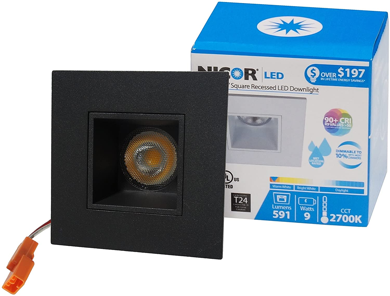 NICOR Lighting 2 inch Square LED Downlight in Black, 3000K (DQR2-10-120-3K-BK)