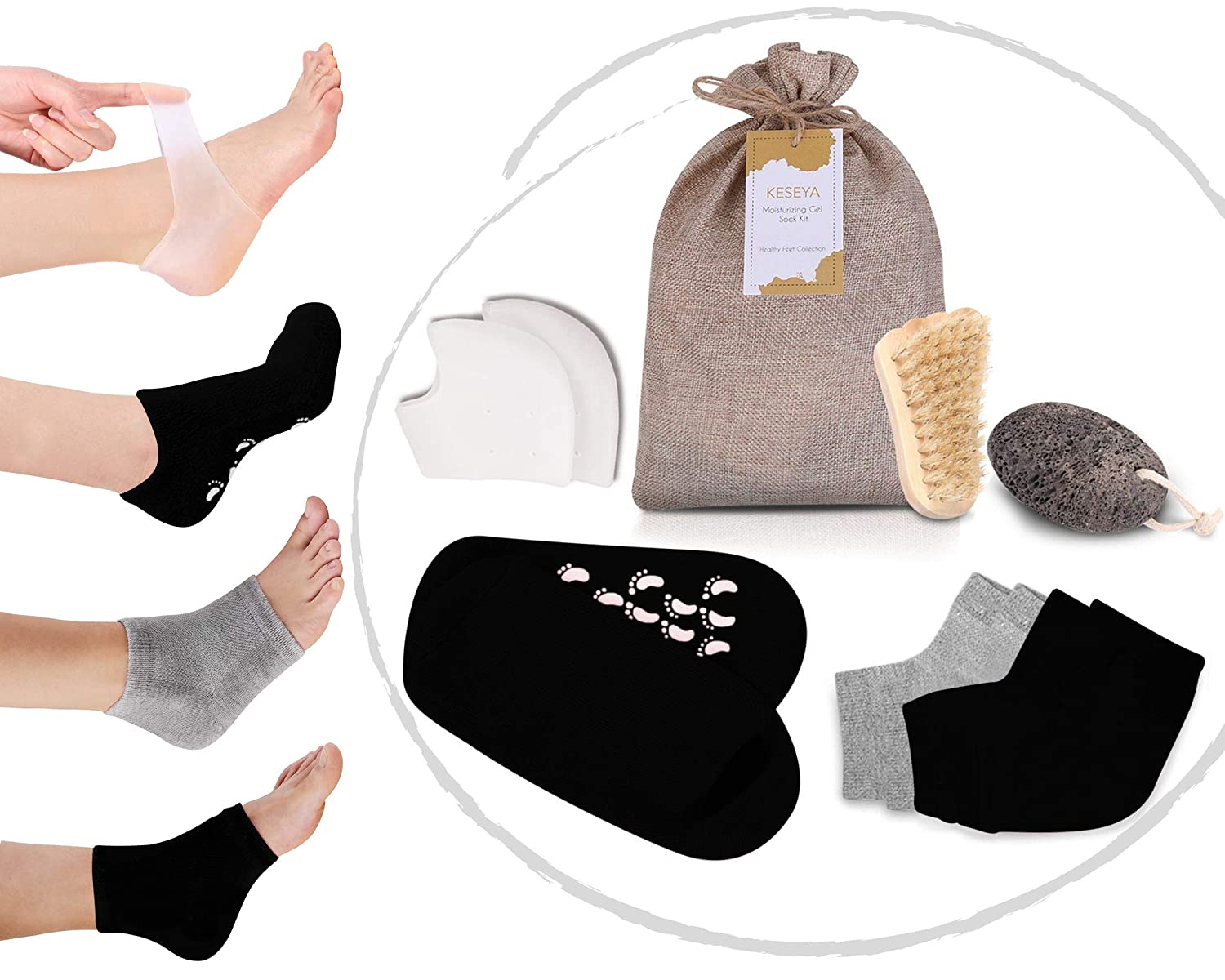 Self Care Gift for Women | Foot Care Kit Includes Round-the-Clock Moisturizing Heel Treatment Socks plus Foot Exfoliator and Brush for Soft Summer Ready Feet | Useful Relaxing Foot Care Gift Idea.