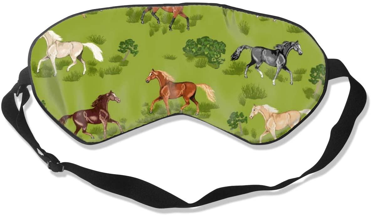 Sleep Eye Mask For Men Women,Prancing Horses Soft Comfort Eye Shade Cover For Sleeping
