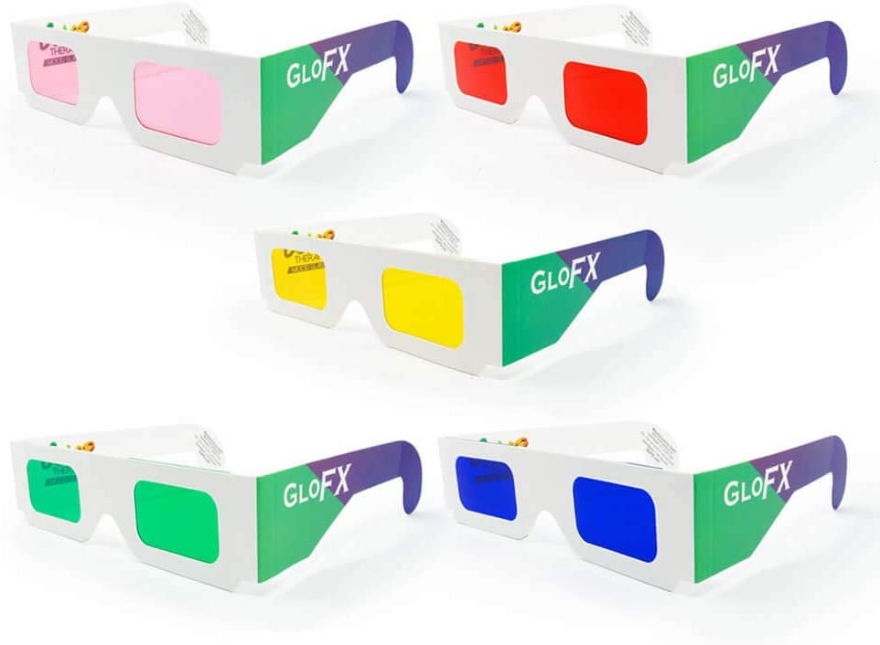 GloFX Color Therapy Paper Glasses - 5 Pack - Chakra Glasses Chromotherapy Glasses Light Therapy