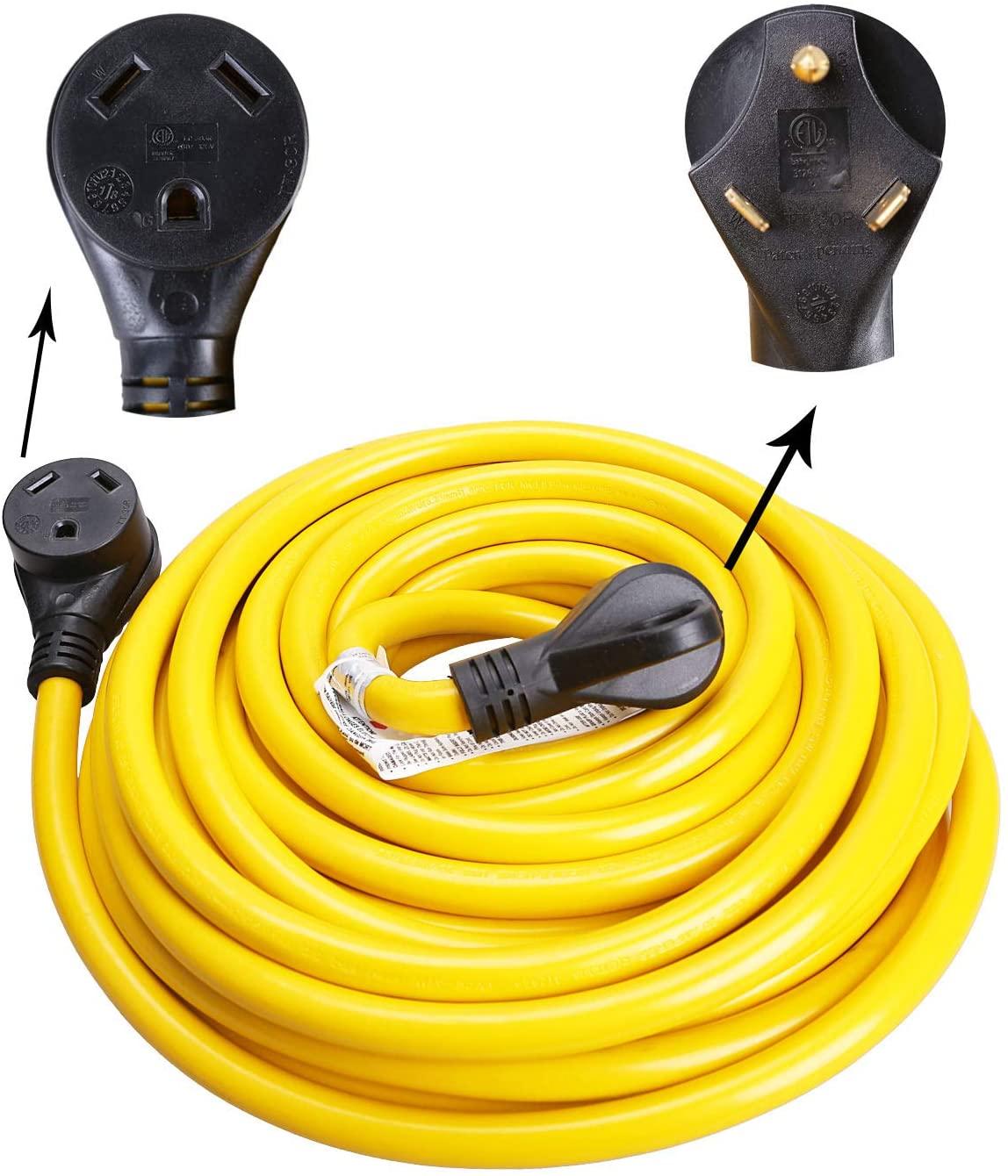 RV Extension Cord 30 Amp NEMA TT-30 RV/Generator Extension Cord with Handle, 25Foot(RV30-25FH)