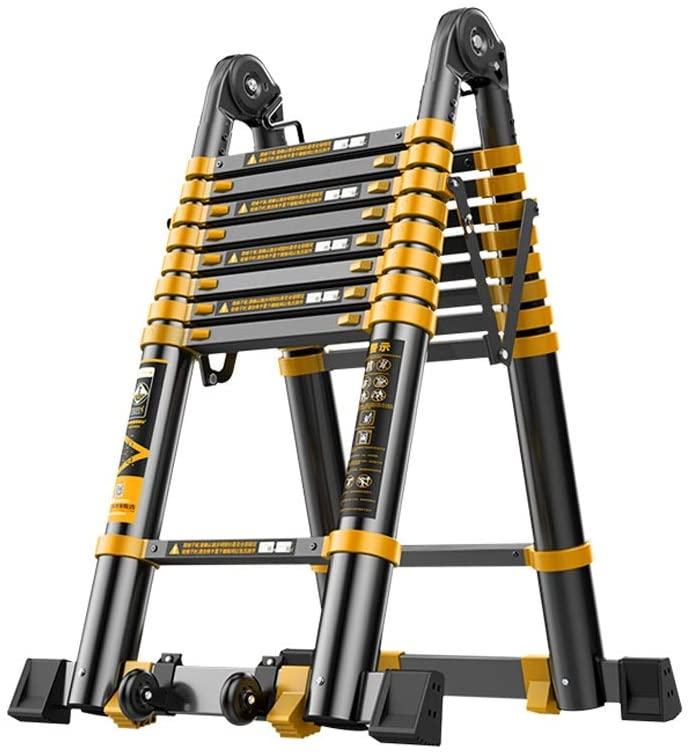 Jian E Extension Ladder Telescopic Ladder Engineering Lift A Type Ladder Household Portable Aluminum Alloy Thick Folding Ladder Bearing 330lb // (Size : 1.7m/5.5ft)
