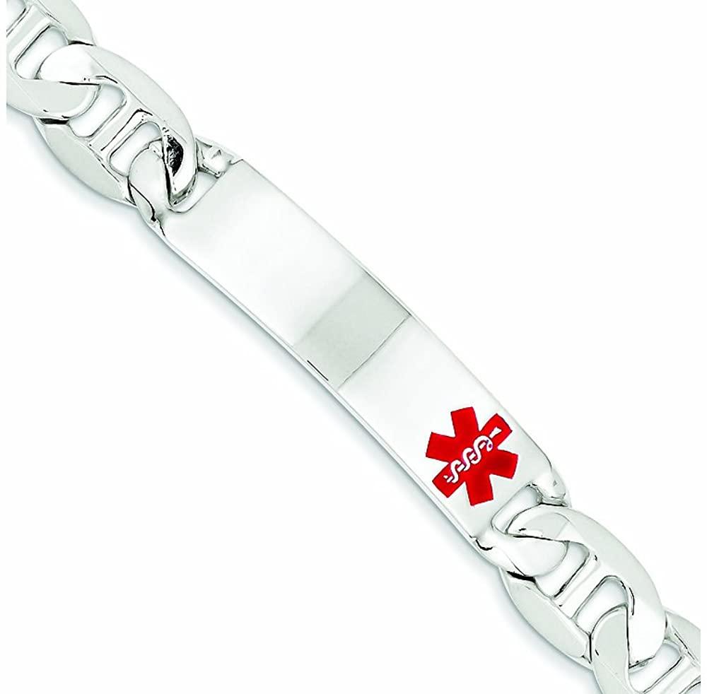 Finejewelers Sterling Silver Polished Medical Anchor Link Id Bracelet