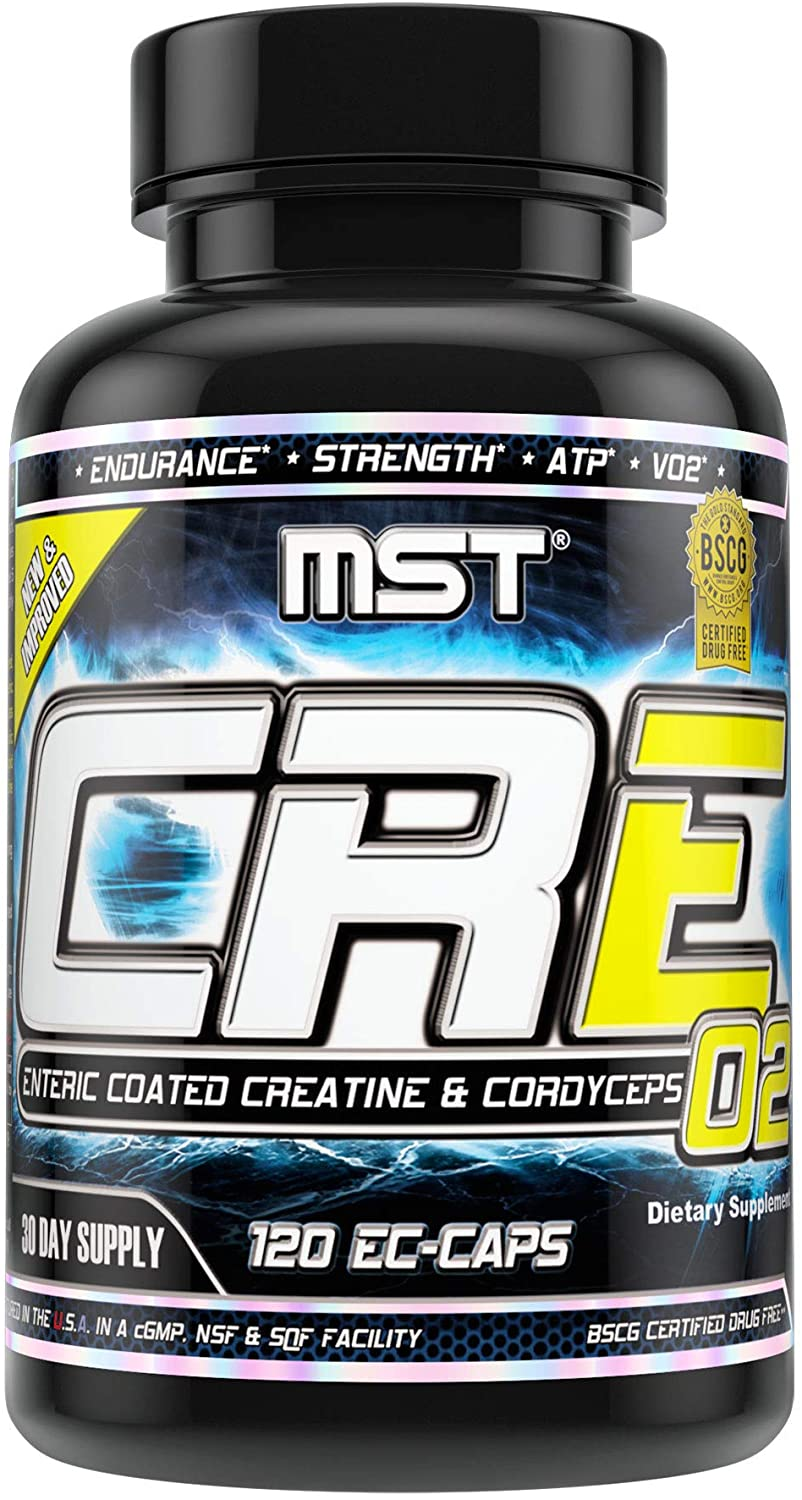 CRE O2, Enteric Coated Stomach Stable Delivery Creatine + Cordyceps + Rhodiola + Jiaogulan from MST, BSCG Certified Drug Free, 120 Enteric Coated Veggie Caps, Suitable for Women & Men