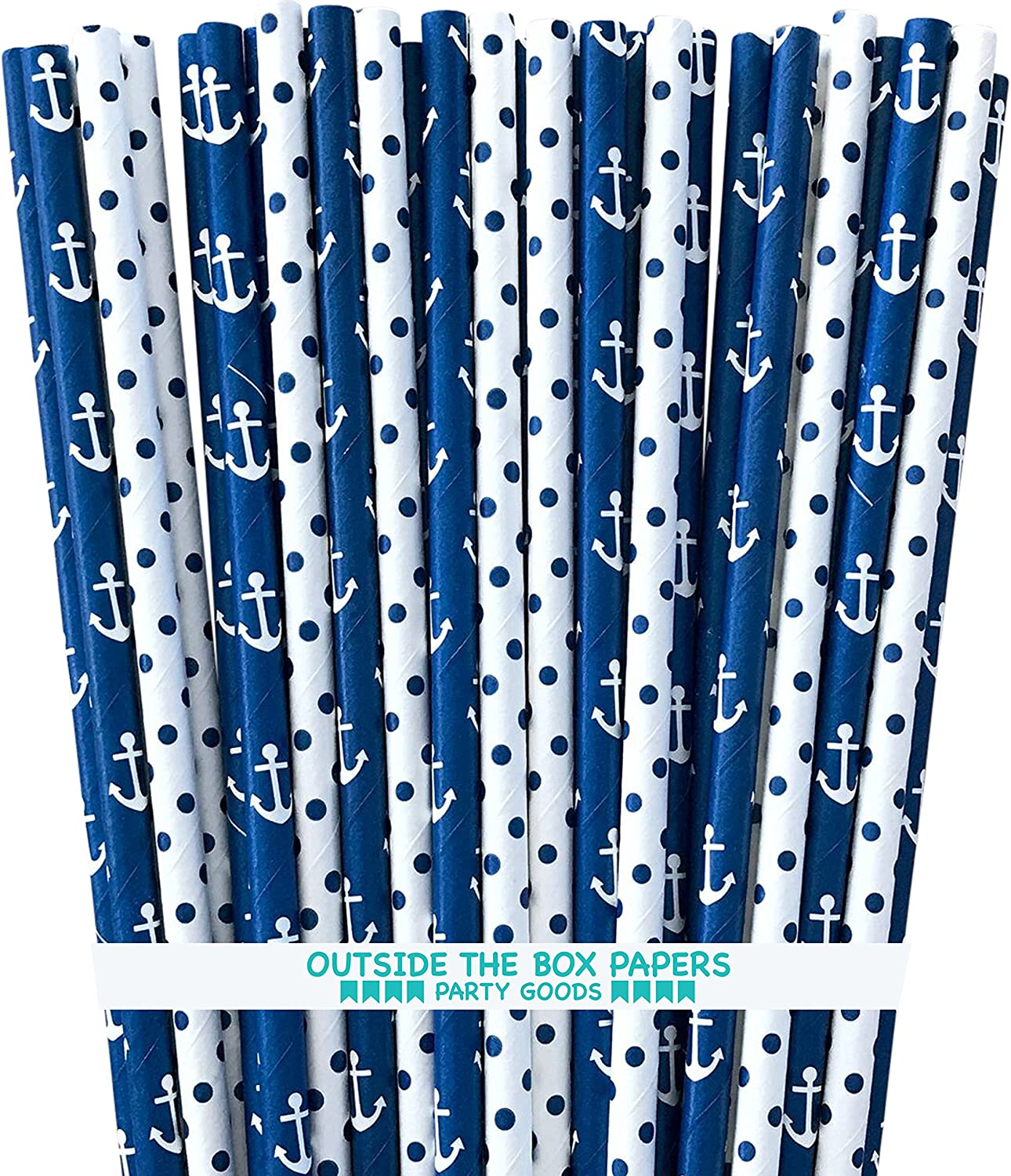 Nautical Theme Anchor and Polka Dot Nautical Theme Paper Straws - Navy Blue and White - 7.75 Inches - 100 Pack