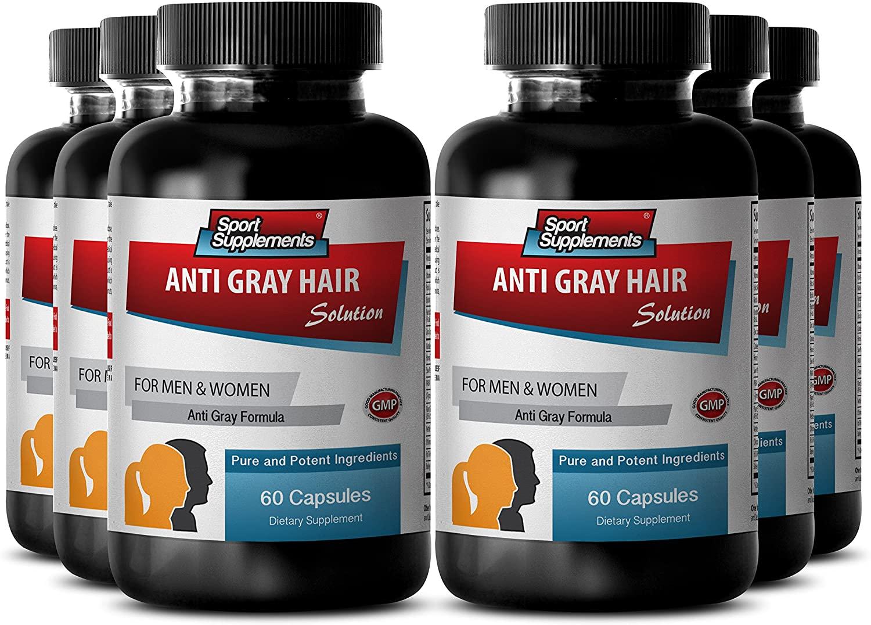 Biotin Extract - Anti Gray Hair - Barley Grass Juice Powder - Fo ti Root (6 Bottles - 360 Capsules)