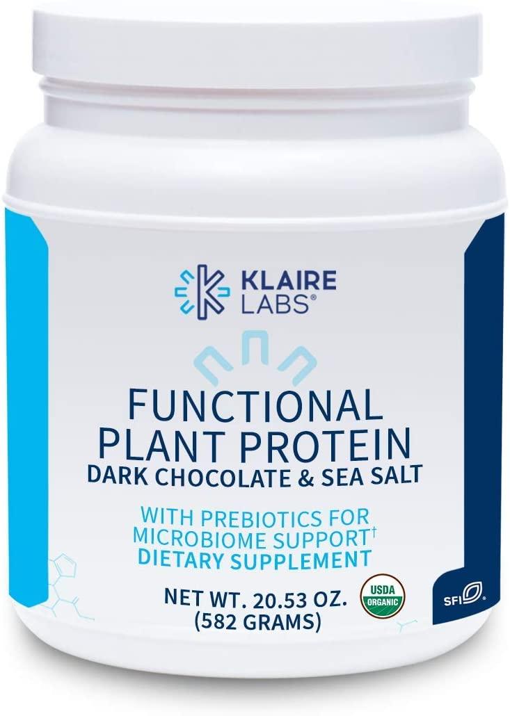 Klaire Labs Functional Plant Protein with Prebiotics - Dark Chocolate & Sea Salt (582 Grams / 15 Servings)