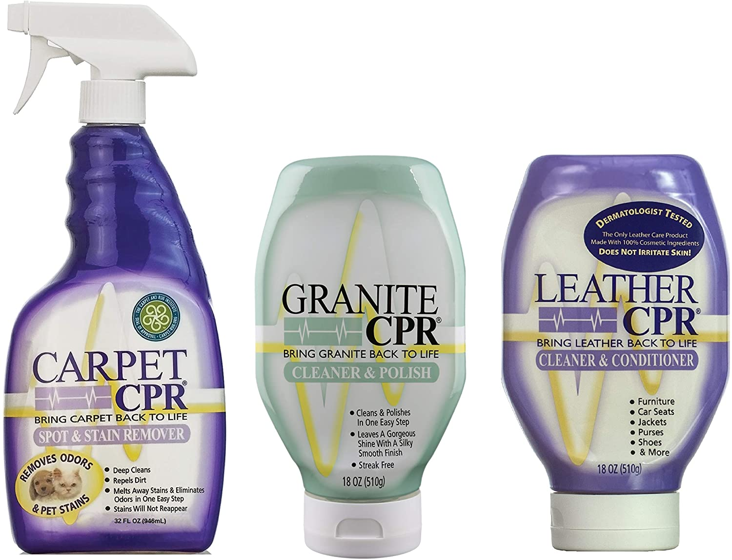 CPR Combo Packs and Sizes (3 Pack, Leather, Carpet, Granite)