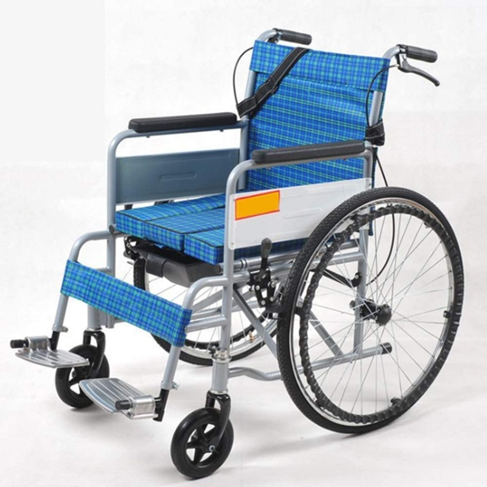WLG Lightweight Folding Aluminum Alloy Wheelchair, Portable Elderly Disabled Toilet Trolley dg