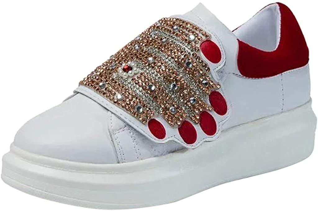 Golike Women's Sports Shoes Stitching Rhinestone Casual Flat White Female Thick-Soled Platform Sneakers Bottom Shoes