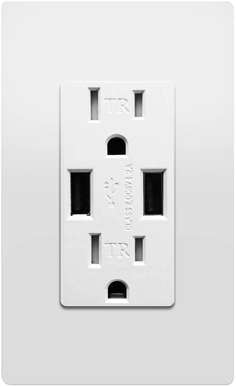 Outlet with USB High Speed Charger 4.2A Charging Capability, Child Proof Safety Duplex Receptacle 15 Amp, Tamper Resistant Wall Socket Plate Included UL Listed MICMI U24, Outlet with USB