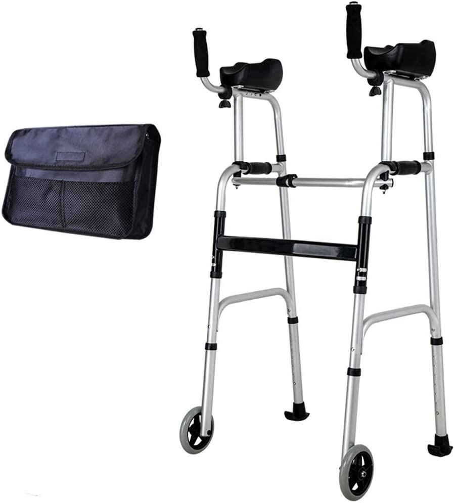 SHKY Standard Walkers Elderly People Foldable Walker,Adjustable Walking Assist Equipped Wheels Equipped with Arm Rest Pad,for The Limited Mobility,A