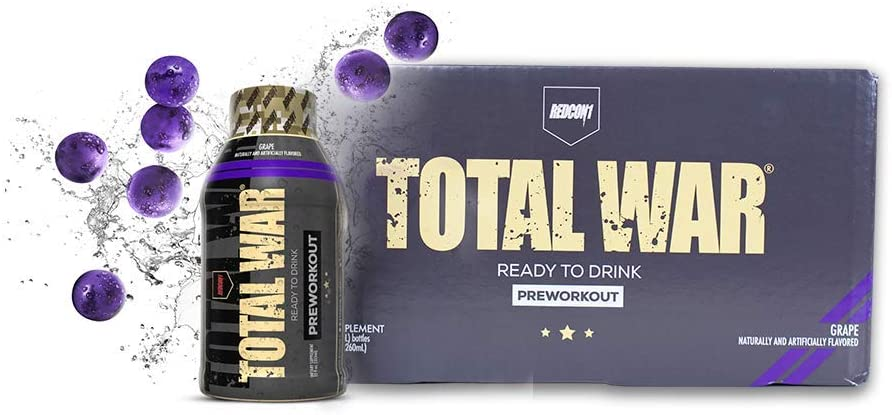 Redcon1 - Total War RTD - Ready to Drink Liquid Preworkout - Case of 12 - Amazing Flavors, Clean Energy, Caffeine, Beta Alanine, Increased Energy, Increased Focus, Increased Stamina (Grape)