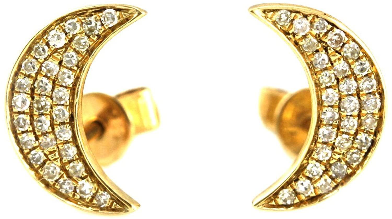 0.18ct Round Pavé Diamond in 14K Gold Mini Crescent Moon Stud Earrings