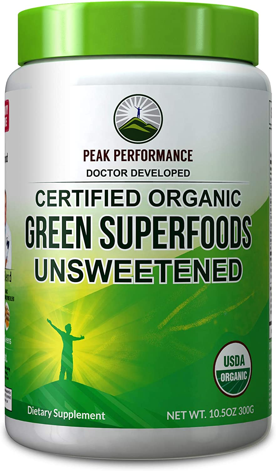 Peak Performance Organic Greens Unsweetened Superfood Powder. Unflavored Green Juice Vegan Super Food with 25+ All Natural Ingredients for Max Energy and Detox. Spirulina, Spinach, Kale, Probiotics