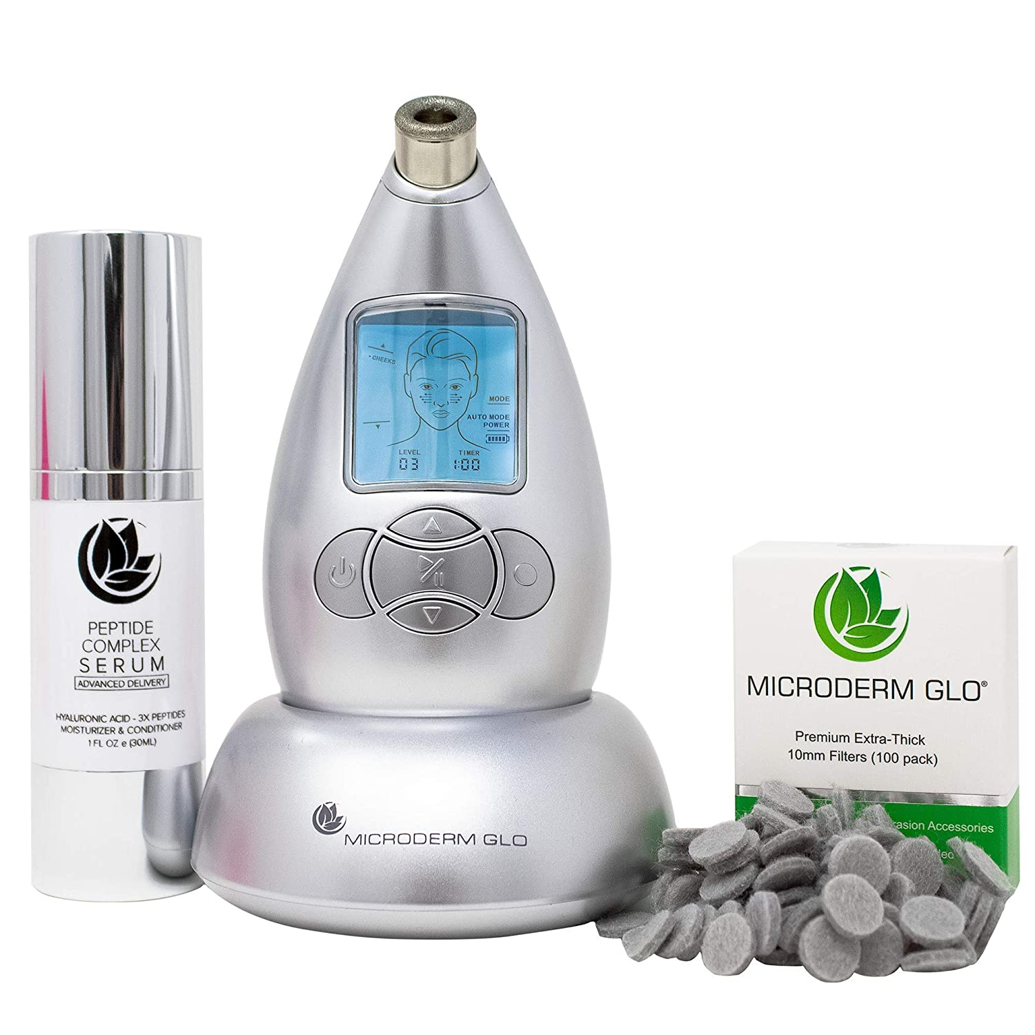 Microderm GLO Skincare Premium Bundle Includes Diamond Microdermabrasion System, 10mm Filters 100 pack & Peptide Complex Serum. Perfect Anti Aging Treatment Kit