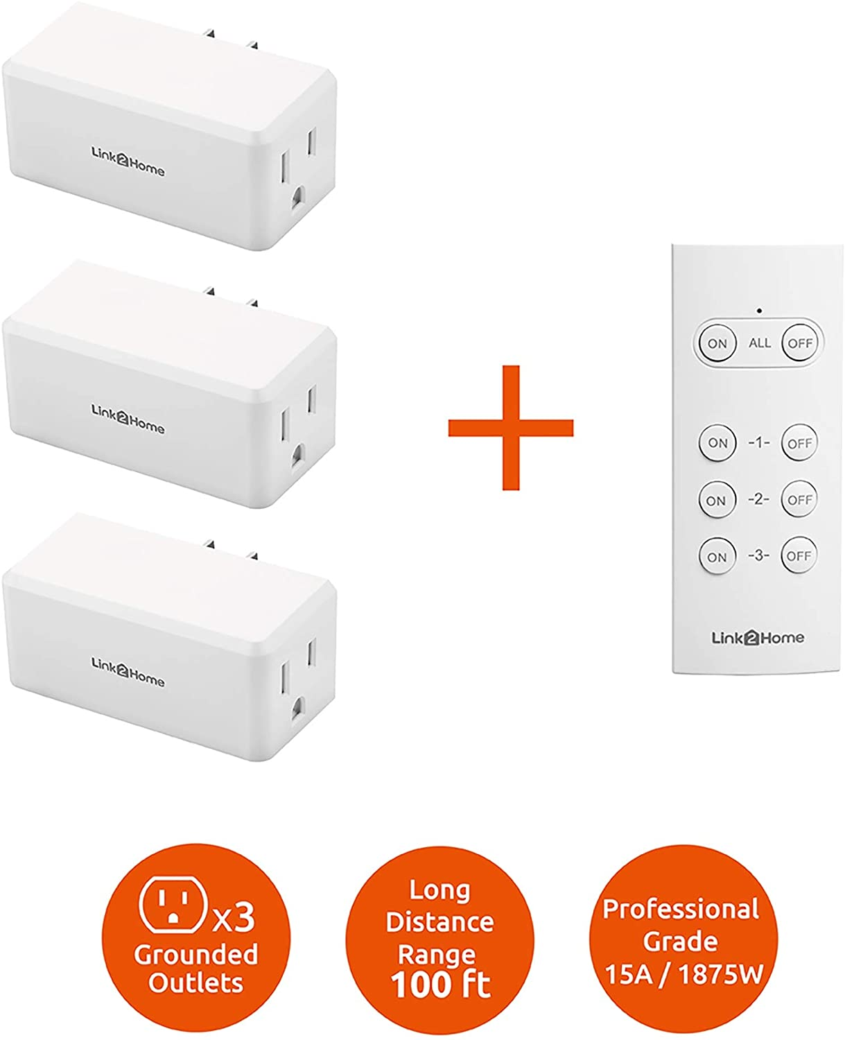 Link2Home Wireless Remote Control Outlet Light Switch, 100 ft range, Unlimited Connections. Compact Side Plug. Switch ON/OFF Household Appliances. FCC CSA Certified, White (3 Outlets, 1 Remote).