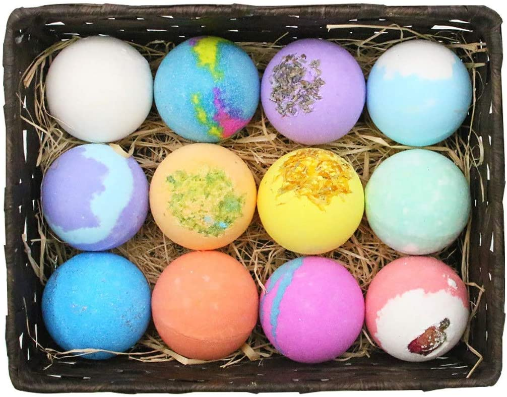 Bubble Bath Bath Bombs Gift Set, 12 Pcs Handmade Bubble Bath Bomb with Essential Oil, Shea Butter, Coconut Oil,Lavender Flower,Perfect for Spa or Bubble Bath,Best Birthday Gift for Kids/Women/Men Add