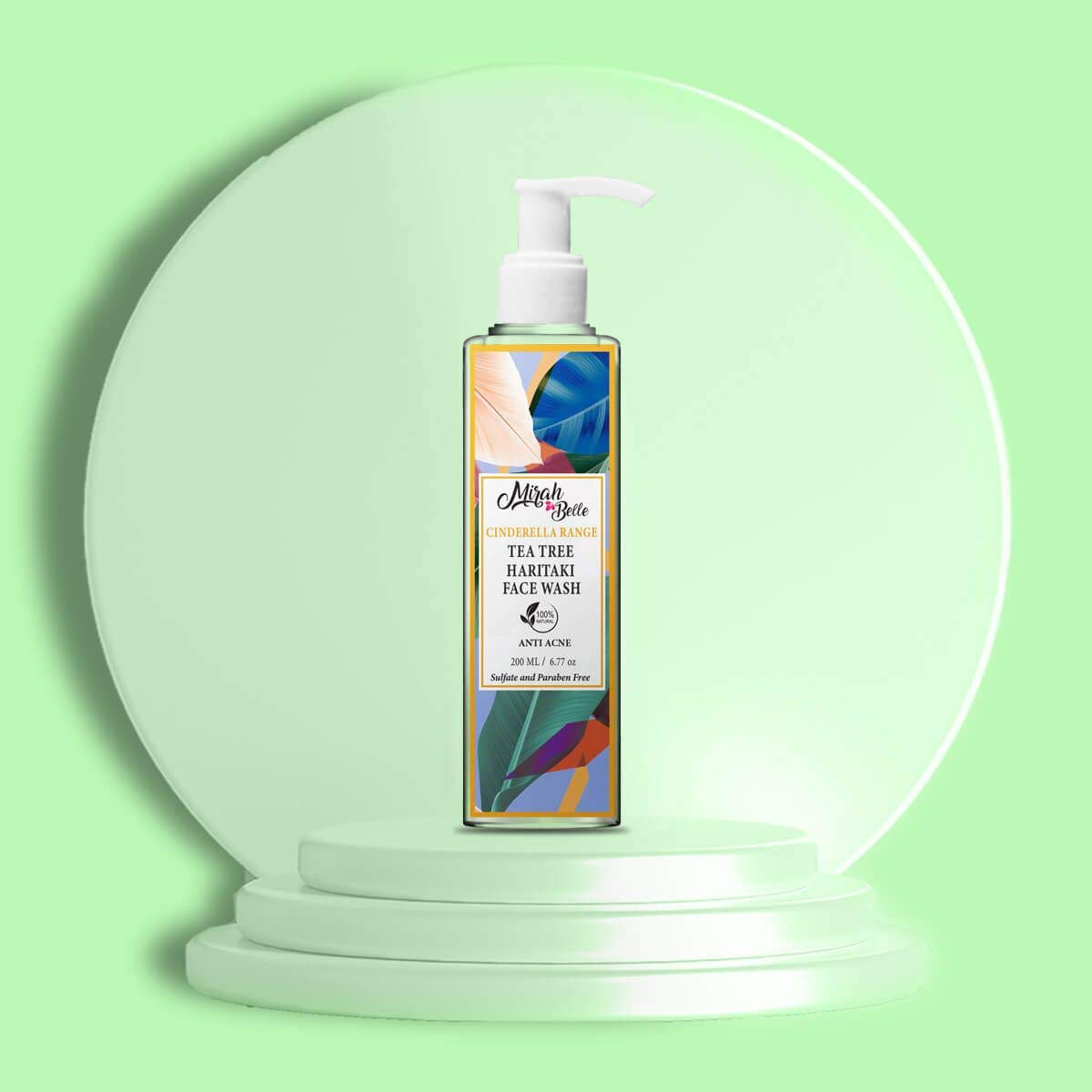 Mirah Belle - Tea Tree, Haritaki - Natural Face Wash - Anti Acne, Heals Blemishes, Lightens Scars - Vegan, Cruelty Free - Sulfate and Paraben Free, 200 ml
