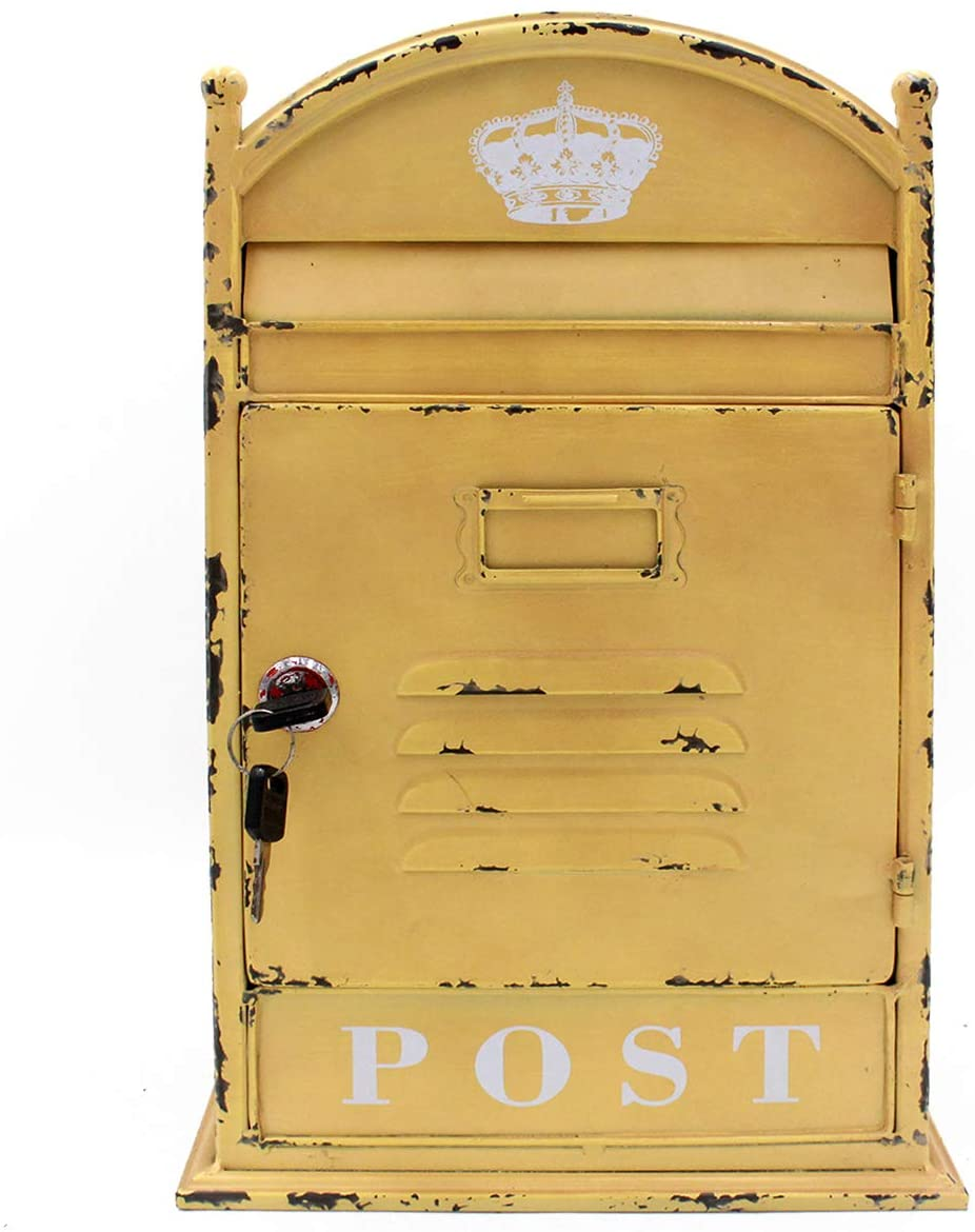 Funerom Vintage Wall Mounted Post Box Metal Mailbox with Secure Lock and 2 Keys, 9 x 5.5 x 14.6 Inches, Rustic Yellow