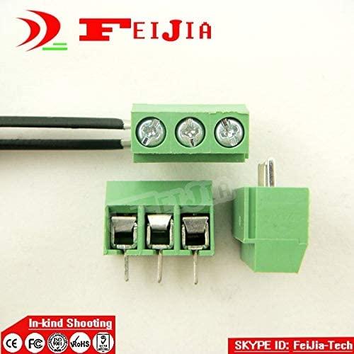 Onvas 20PCS 126-5.0-3P Screw 3Pin 5.0mm Staight Pin PCB Screw Terminal Block Connector(300V/10A)