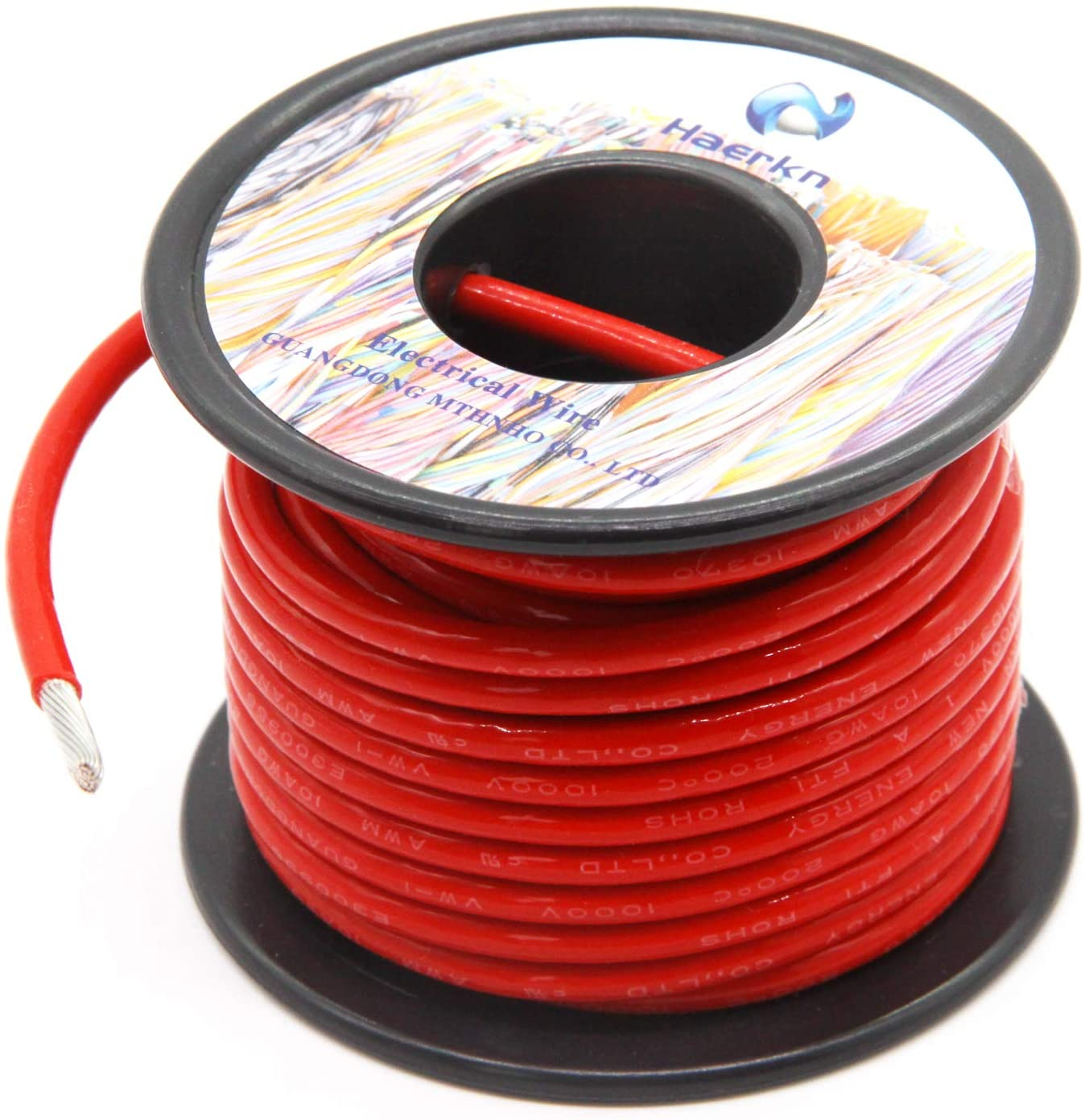 10 Gauge Electrical wire Marine Grade Primary wire Cable High Voltage 1000V Automotive high temperature wire battery cable 10 AWG Stranded of Tinned copper Hook up wire Hard wires 25FT Red Roll