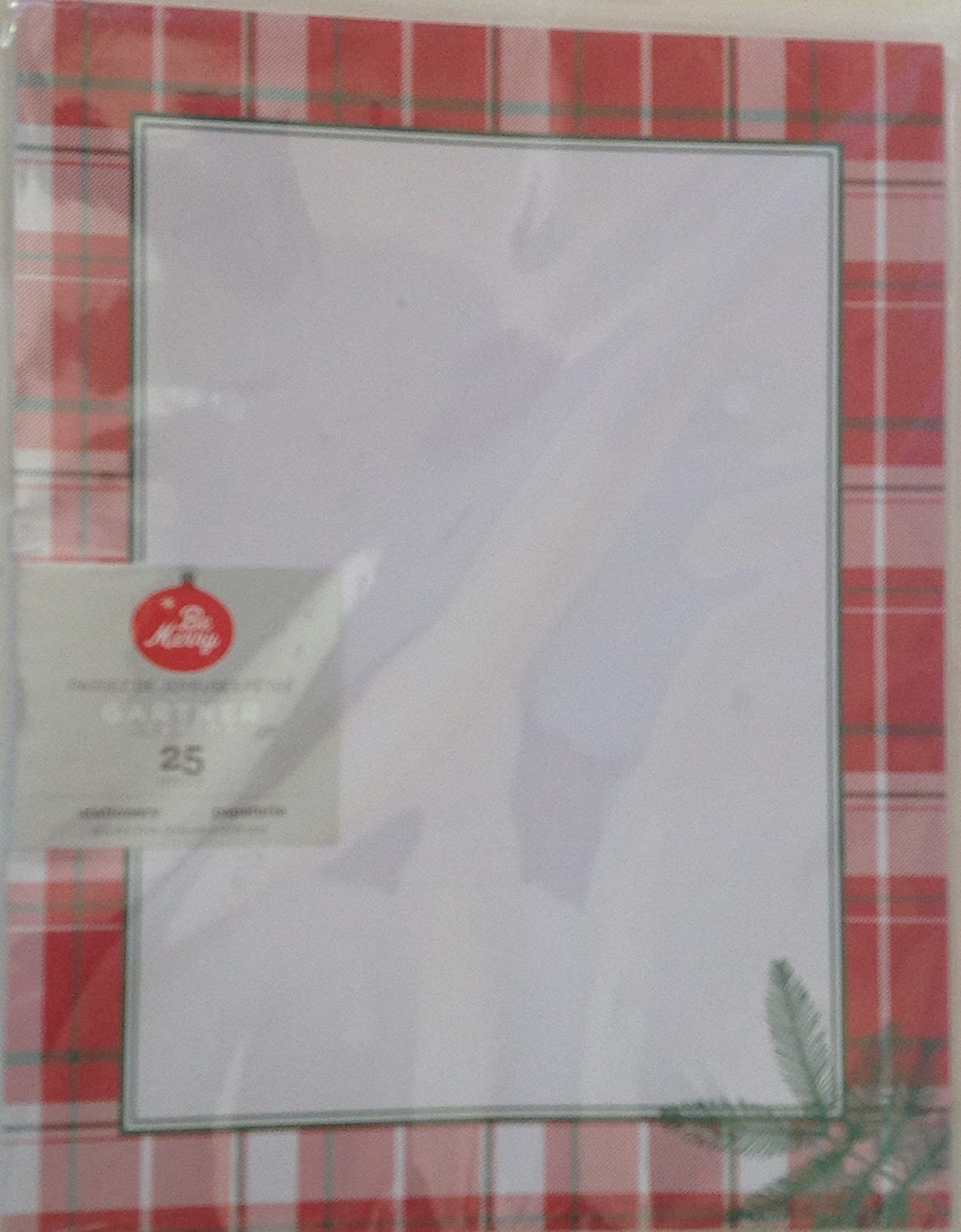 Computer Print Paper New Package 25 Sheets Christmas Plaid Pine Border 8.5x11