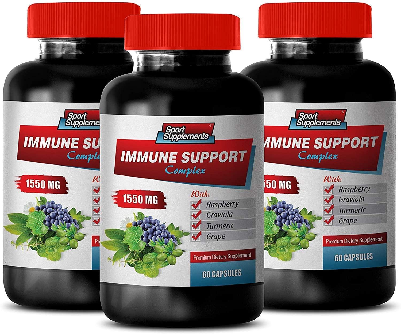 antioxidant Pills - Immune Support Complex 1550MG - Natural Formula - Premium Blend - Stop Free Radical Damage - graviola Soursop Fruit Powder - 3 Bottles (180 Capsules)
