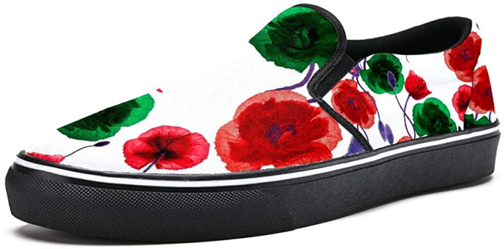 Unicey Red and Green Poppy Flowers Canvas Shoes Lightweight Loafers Shoe for Woman