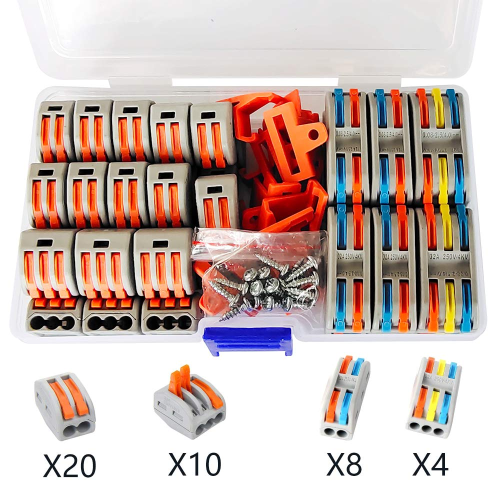 UOHGDPY Lever-Nut,Wire Connectors,Most Practical Combination of Conductor Compact Wire Connector (212(20 PCS),213(10 PCS) , 2-2(8 PCS),2-3(4 PCS),Complimentary Clasp and Screw。