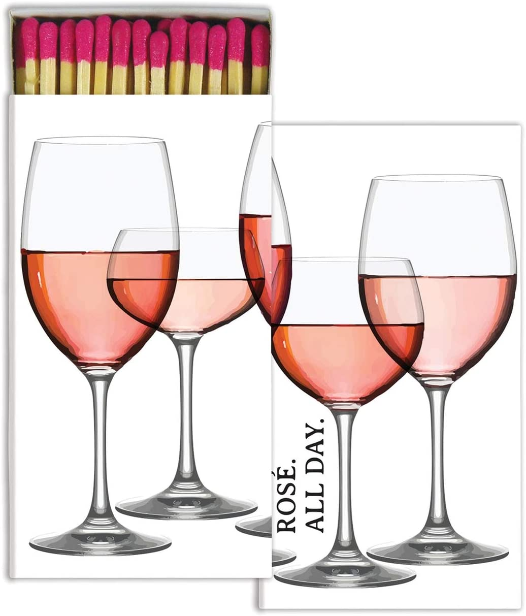 MY SWANKY HOME Elegant Rose Pink Wine Glass Bar Matches| Set 10 Graphic Paper Long Fireplace