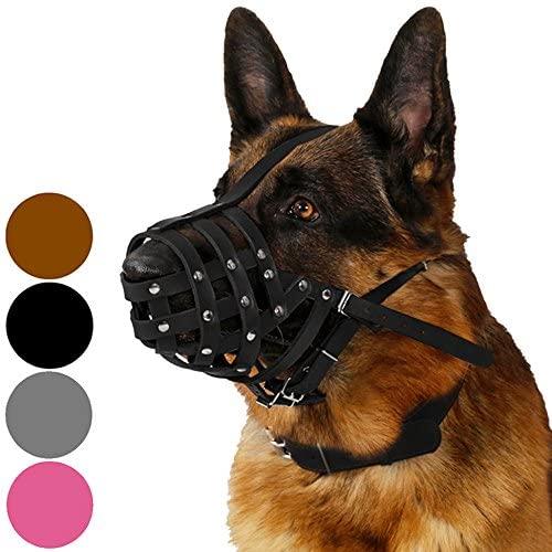 CollarDirect Dog Muzzle German Shepherd Dalmatian Doberman Setter Leather Basket Medium Large Breeds Black Brown
