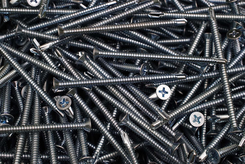 (100) Phillips Flat Head 1/4 x 4 Self-Drilling Screws Tek Zinc #3 Point