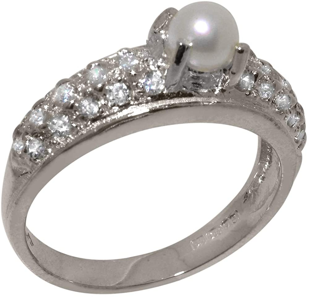 Solid 14k White Gold Cultured Pearl & Cubic Zirconia Womens Band Ring - Sizes 4 to 12 Available