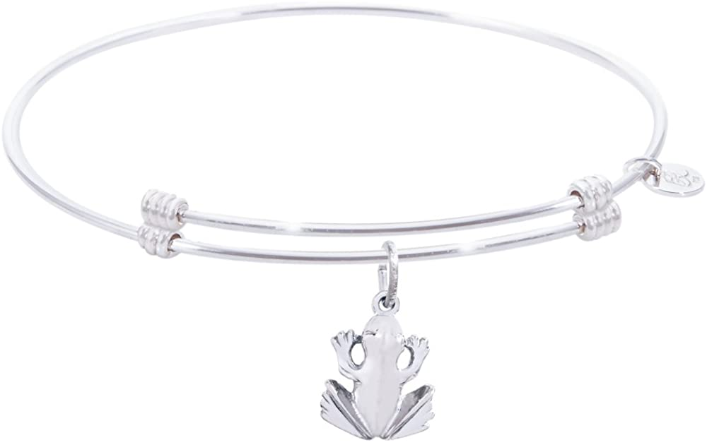 Rembrandt Frog Charm Expandable Wire 'Alluring' Bangle, Sterling Silver