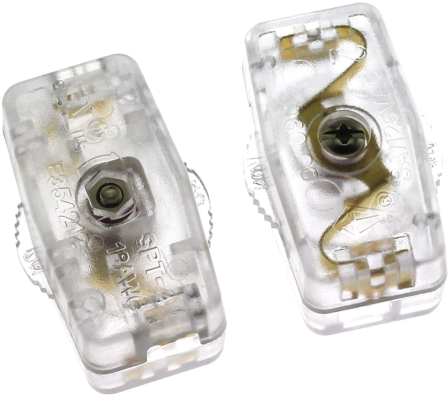 RuiLing 2-Pack AC 3A 125V Inline Switch Thumbwheel Light Lamp Plastic Clear Housing On/Off