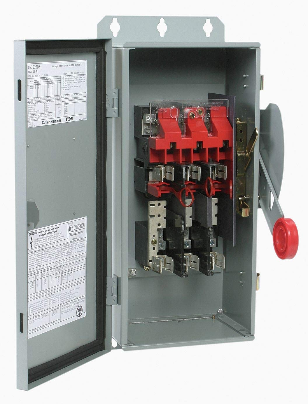 Eaton Safety Switch, 3R NEMA Enclosure Type, 30 Amps AC, 15 HP @ 480VAC HP - DH361URK