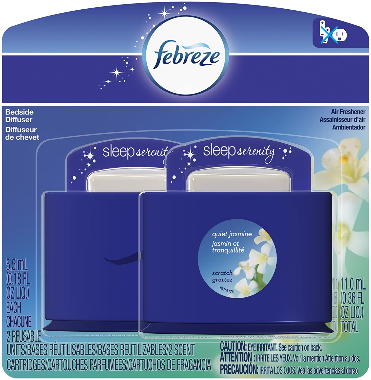Febreze Sleep Serenity Bedside Refresh Diffuser Set, Quiet Jasmine, 5.5 ml, 2 Count