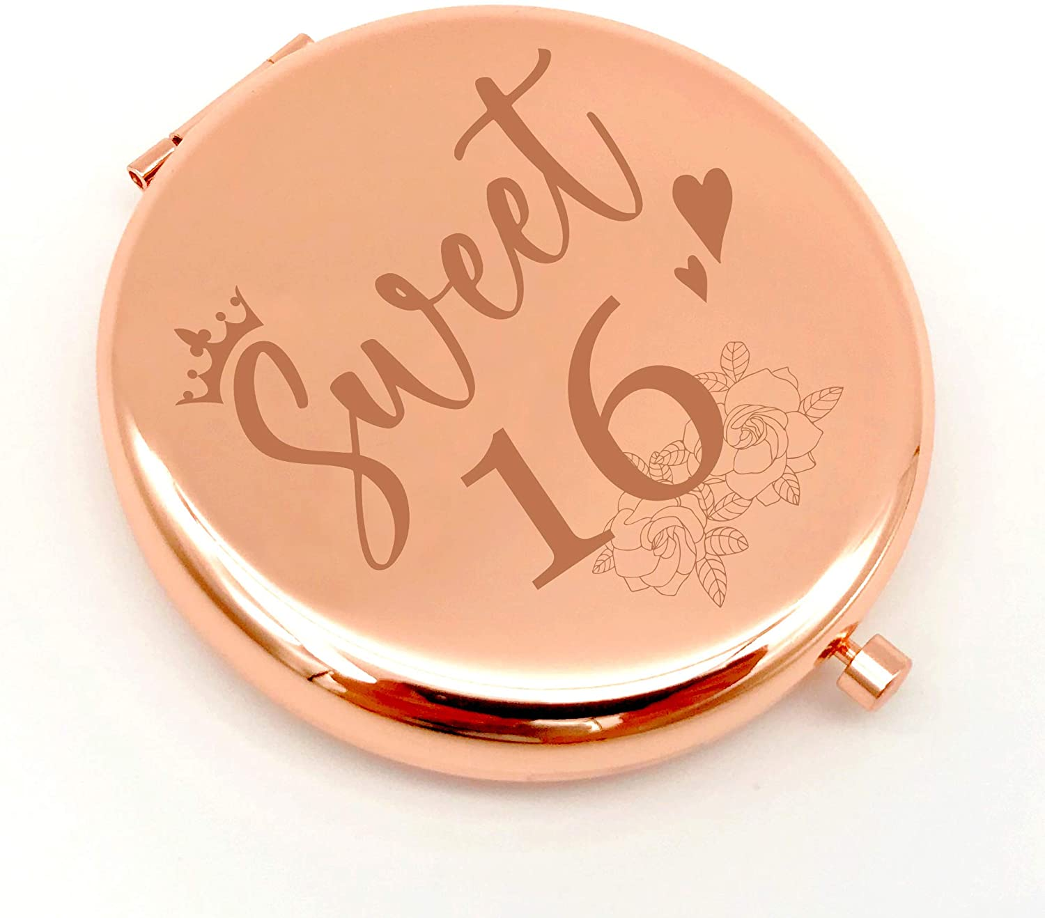 Warehouse No.9 Sweet 16 Gifts for Girls 16th Birthday Gifts, Double Sided Engraved Travel Compact Pocket Makeup Mirror Gift for Teen Girls Daughter