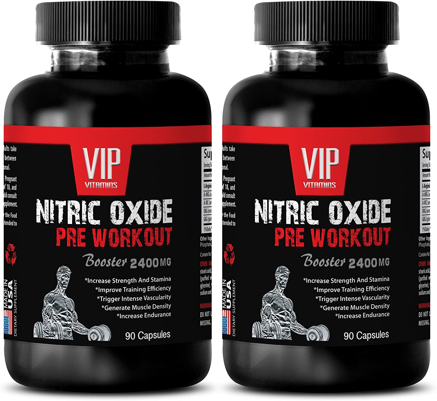 Muscle gain - Nitric Oxide PRE Workout 2400MG - Fat Burner - Boost Muscle Mass and Strength - Nitric Oxide Enhancer - 2 Bottles (180 Capsules)