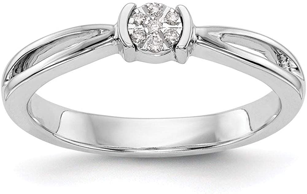 14K White Gold Complete Diamond Promise Engagement Ring, Size 7