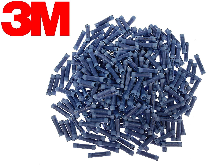 UL Listed 3M 1000pcs 16-14 Gauge 62-P Blue Butt Connectors, Insulated Vinyl Wire Crimp Terminal Connectors